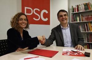 Meritxell Batet y Carles Martí, este miércoles, en la sede del PSC.