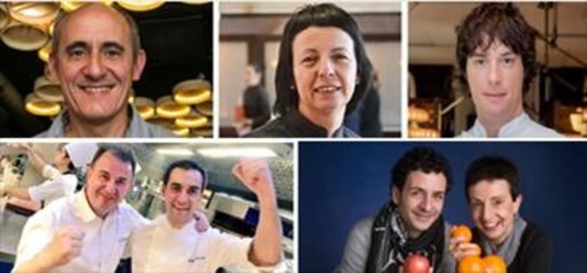 Los cinco chefs con restaurantes en Catalunya que optan a la tercera estrella: Paco Pérez (Miramar y Enoteca), Fina Puigdevall (Les Cols), Jordi Cruz (Àbac), Martín Berasategui y Paolo Casagrande (Lasarte) y Raül Balam y Carme Ruscalleda (Moments).