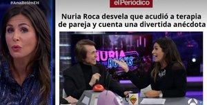 Momento de El Hormiguero en el que Nuria Roca destaca que el titular de EL PERIÓDICO sobre su terapia de pareja fue el que más le gustó.