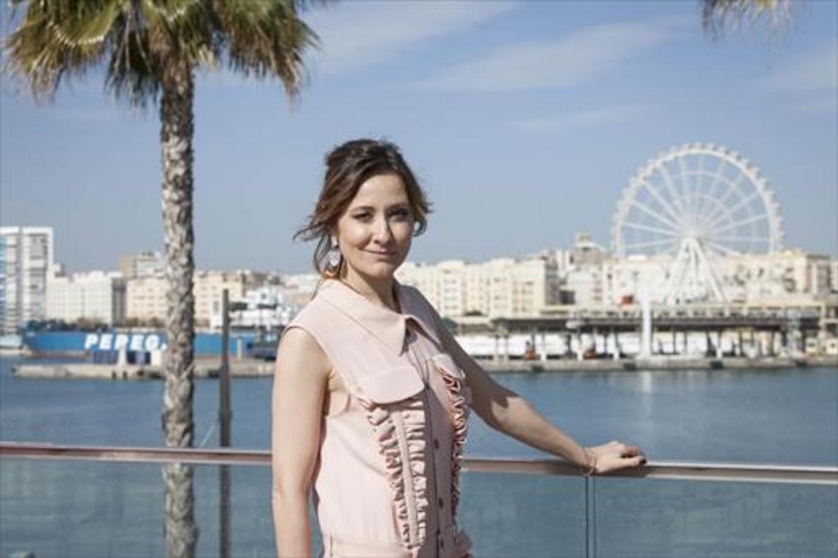 Nathalie Poza, durante la presentación a la prensa de No sé decir adiós,en Málaga.