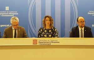 Octavi Bono, Àngels Chacon y David Font, en rueda de prensa.