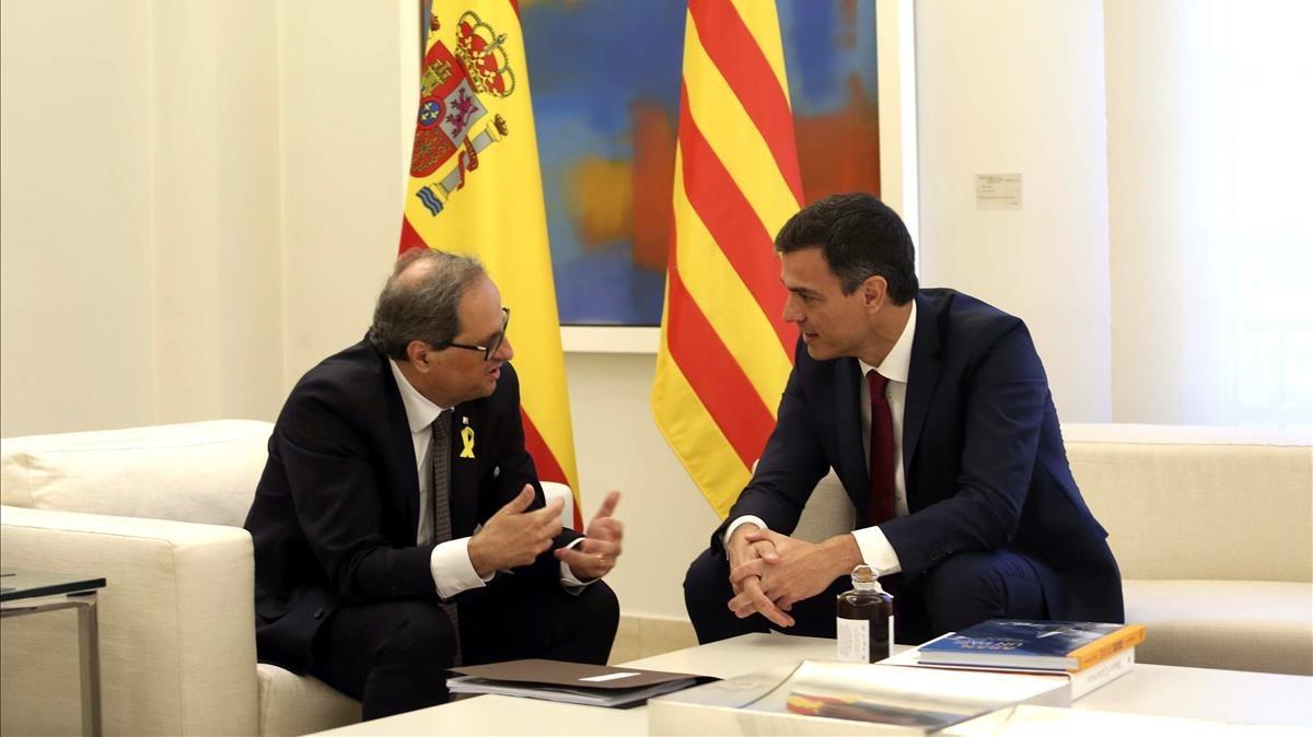Reunión, el pasado julio, de Pedro Sánchez y Quim Torra en la Moncloa.