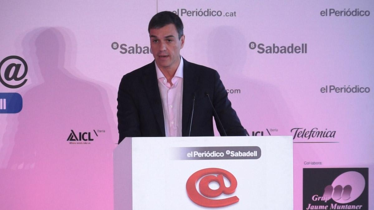 El secretario general del PSOE, Pedro Sánchez,da su visión de la situación de Catalunya en el foroPrimera Plana, de El Periódico.
