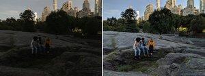 Imagen tomada sin y con el nuevo modelo de foto nocturna del Pixel 3 de Google.