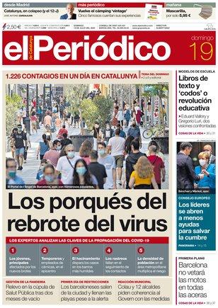 La portada de EL PERIÓDICO del 19 de julio del 2020