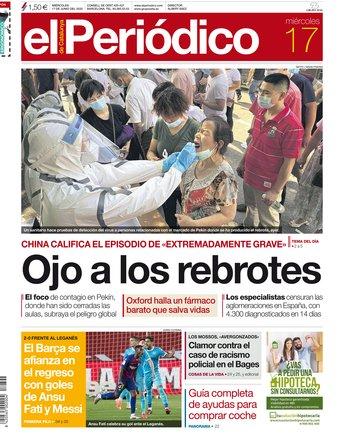 La portada de EL PERIÓDICO del 17 de junio del 2020