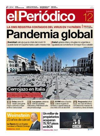 La portada de EL PERIÓDICO del 12 de marzo del 2020.
