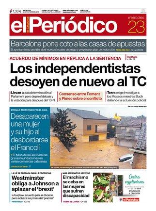 La portada de EL PERIÓDICO del 23 de octubre del 2019
