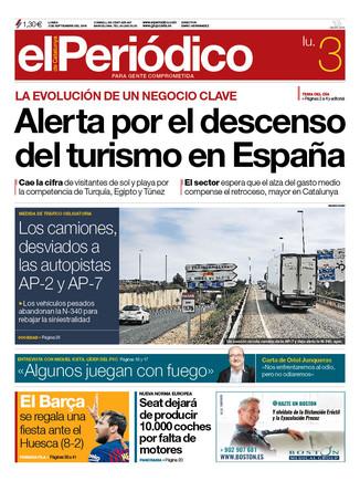 La portada de EL PERIÓDICO del 3 de septiembre del 2018.
