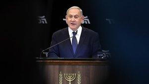 El primer ministro israelí en funciones, Binyamin Netanyahu, durante la rueda de prensa que ha ofrecido este miércoles.