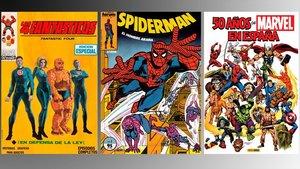 Primera portada de Vértice, una de Forum y el volumen de Panini '50 años de Marvel en España'.