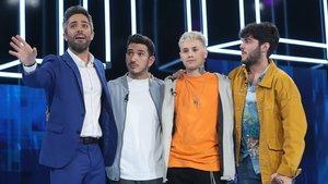 Roberto Leal con Bruno, Hugo y Rafa en 'OT 2020'.