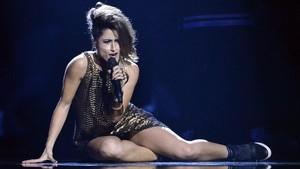 La cantante española Barei, durante su actuaciónen el Festival de Eurovisión del 2016, en Estocolmo.