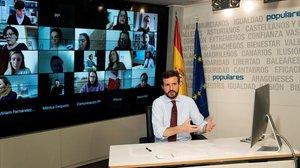 Pablo Casado, este lunes, durante la rueda de prensa telemática que ofreció desde la sede del PP de Madrid.