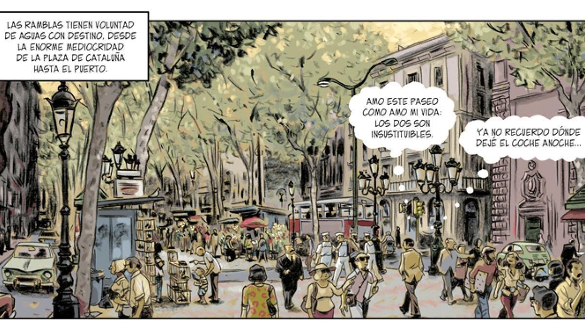 Viñeta de la adaptación al cómic de 'Tatuaje', primera novela de Vázquez Montalbán con Carvalho de protagonista.