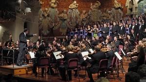 Danielle Gatticonla Mahler Chamber Ochestra y el Orfeó Català interpretandola 'Novena' de Beethoven en el Palau.