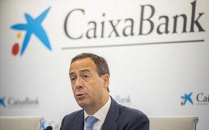 Gonzalo Gortázar, consejero delegado de CaixaBank, en la presentación de resultados del segundo trimestre de 2019