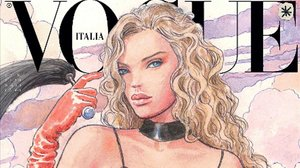 El dibujo de Milo Manara, que como toda la colección de ilustraciones recrea un modelo de Gucci.