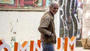 El poeta Enric Casasses, este jueves tras ser galardonado con el Premi d'Honor de les Lletres Catalanes.