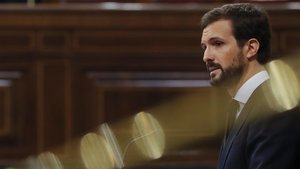 El líder del PP, Pablo Casado, en el debate de la quinta prórroga del estado de alarma