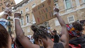 Protesta contra el racismo y la violencia policial, en Barcelona, en junio.