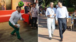 Joan Laporta juga amb una pilota a la seva seu electoral (foto de lesquerra) i Josep Maria Bartomeu parla amb el cap de premsa de la seva campanya, Carlos Martín, al Club Esportiu Laietà.