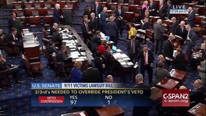 Captura de televisión del resultado de la votación en el Senado, contraria al veto de Obama, el miércoles.