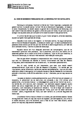 Carta de despedida de Pere Soler a los agentes de los Mossos.