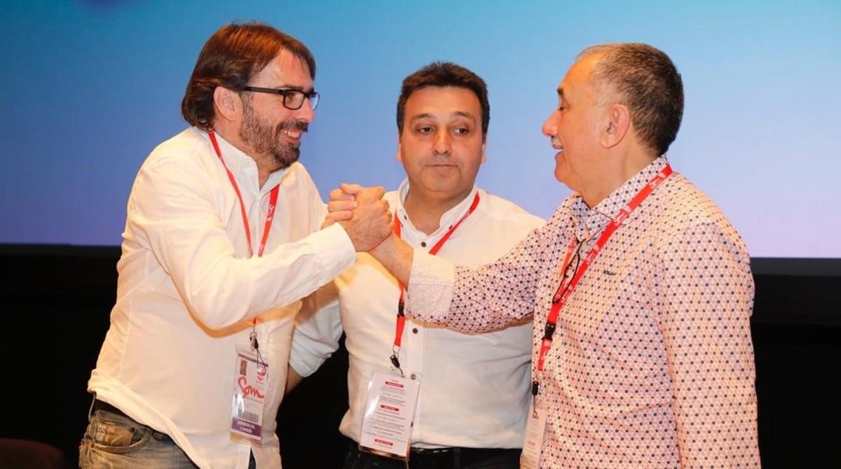 Camil Ros, Matías Carnero y Josep Maria Álvarez, durante el congreso de la UGT de Catalunya en Terrassa.