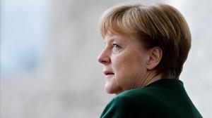 La cancillera alemana, Angela Merkel, en una reunión el parlamento europeo.