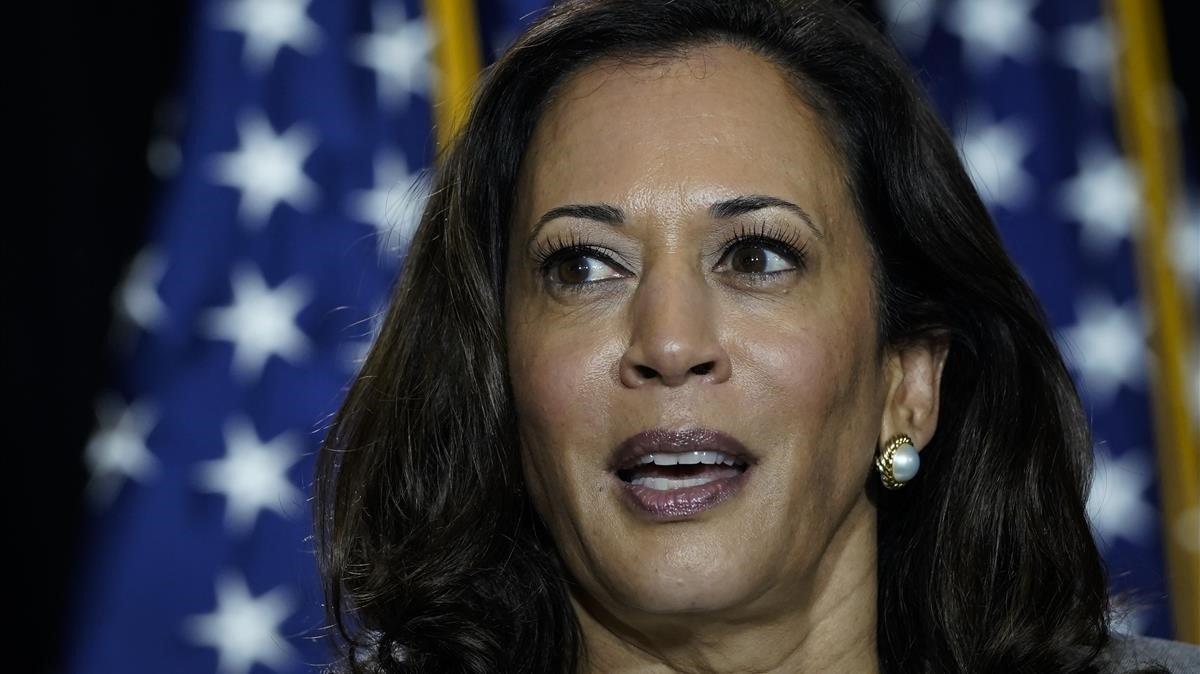 La candidata a la vicepresidencia de EEUU, Kamala Harris, en un acto el jueves en Delaware