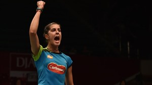 Carolina Marín celebra un punt en el partit de quarts de final al Mundial de Bàdminton a Jakarta