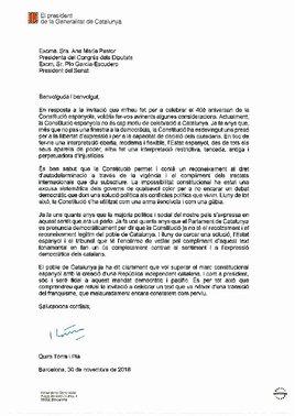 Carta de Quim Torra a los presidente del Congreso y el Senado.