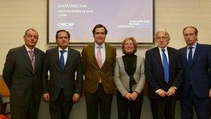 Imagen de los cuatro nuevos vicepresidentes de la CEOE nombrados por el presidente, Antonio Garamendi.