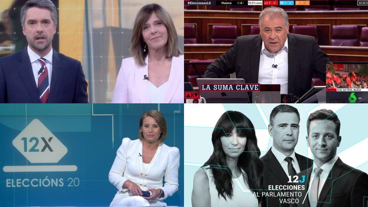La cobertura de las cadenas generalistas y autonómicas para las elecciones vascas y gallegas de este domingo 12 de julio.