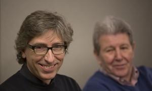 David Trueba, amb el seu editor, Jorge Herralde.