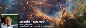 Detall de la pàgina de {Facebook} de Stephen Hawking.