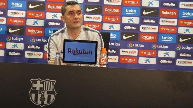 Ernesto Valverde, en la conferencia de prensa de esta tarde en la Joan Gamper.