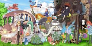 Montaje con algunos de los personajes de las películas más destacadas del estudio Ghibli.