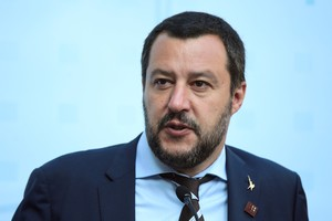 FILE PHOTO Italy s Matteo Salvini attends a news conference about a trilateral meeting during an informal meeting of EU Home Affairs Ministers in Innsbruck Austria July 12 2018 REUTERS Lisi Niesner File Photo