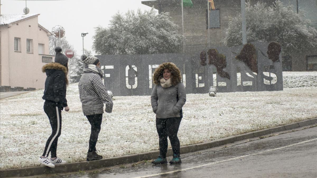 Fornells de la Selva, Girona, tras la nevada.