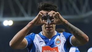 Hérnan Pérez celebrando un tanto ante la Real Sociedad.