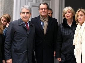 Homs, Mas, Rigau y Ortega, en Madrid el pasado febrero, cuando el 'expresident' testificó en el juicio del primero.