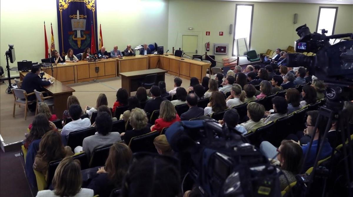 Rueda de prensa conjunta de las siete asociaciones convocantes de la huelga, en los juzgados de Plaza de Castilla, en Madrid.