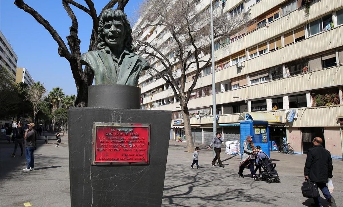 Una imagen de la Mina, con el busto de Camarón.