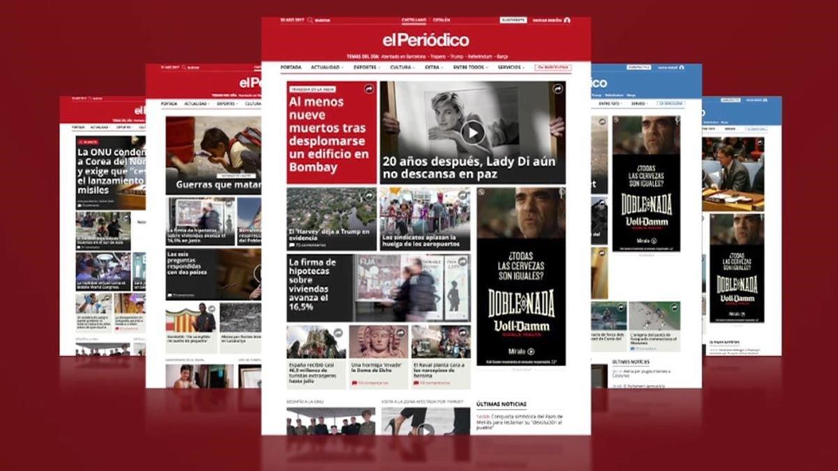 Imagen de la web de EL PERIÓDICO tras su último resideño.