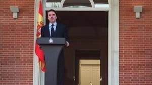 José María Aznar, el 28 de noviembre de 1999, cuando informó desde la Moncloa del comunicado en el que ETA anunció que la tregua que había mantenido durante 14 meses finalizaría el 3 de diciembre.