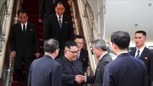 Kim Jong-un a su llegada a Singapur.