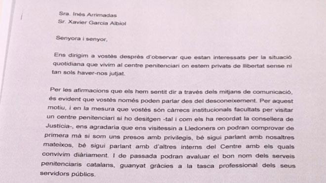 Los políticos presos en Lledoners invitan a Albiol y Arrimadas a visitarles.