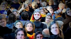 Manifestación de la ANC en el Passeig Lluís Companys de Barcelona, el pasado martes